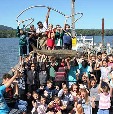 Happy Fish with students from Pawling Middle School, NY (C) Chris Bowser